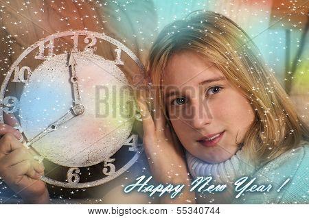 Smiling girl showing clock