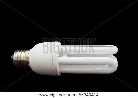 white energy saving bulb Illuminated light bulb CFL bulb Realistic photo image on isolated backgroun