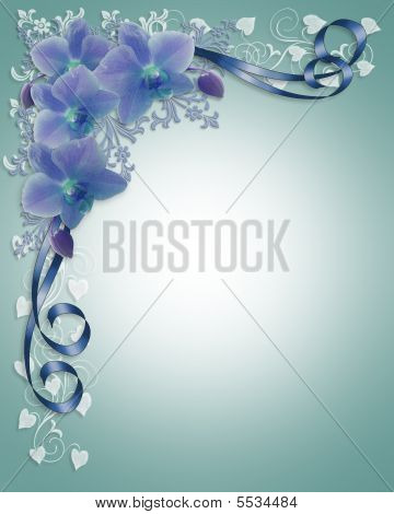 Blue Orchids Wedding Floral Border