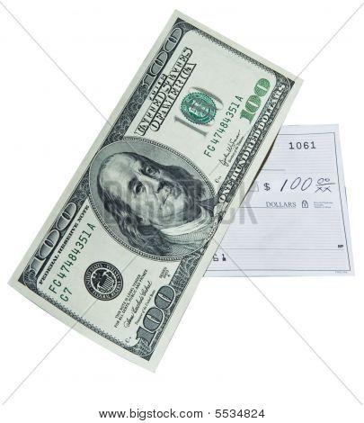 Proyecto de ley de cientos de dólares y cheque bancario