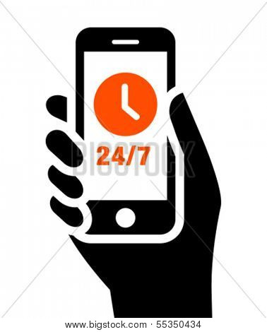Mobile phone in hand with clock sign and 24/7 label