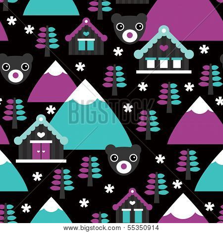 Seamless winter wonderland village with grizzly bear and snow illustration background pattern in vector