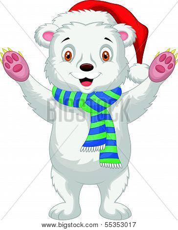 Cute baby polar bear cartoon wearing red hat