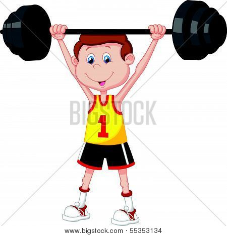 Cartoon man lifting barbell