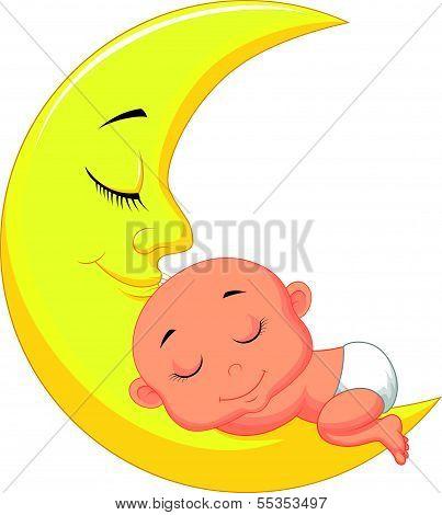 Cute baby cartoon sleeping on the moon