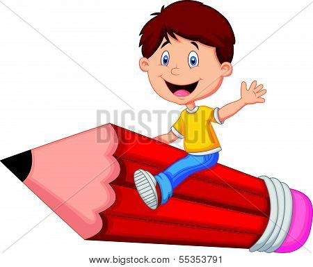 Cartoon boy riding flying pencil