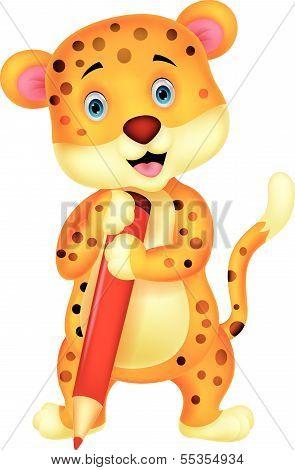 Cute leopard cartoon holding red pencil