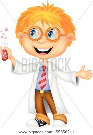 Boy cartoon doing holding reaction tube