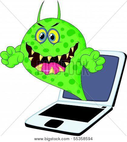 Cartoon Virus on laptop