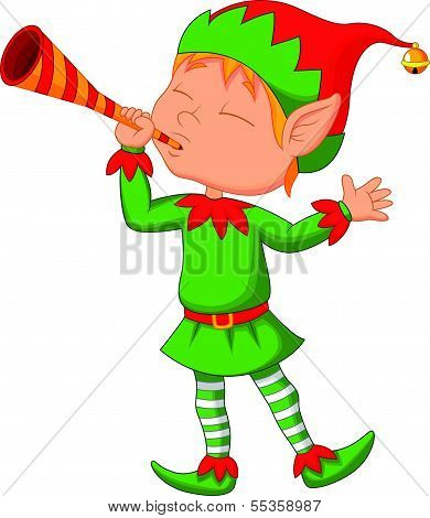 Elf cartoon with trumpet