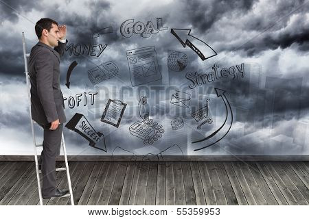 Composite image of businessman standing on ladder peering