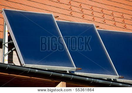 Three Photo voltaic Solar Panels Side View