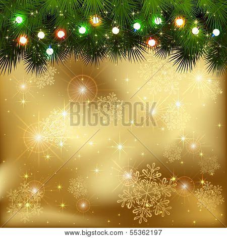 Christmas garland on golden background