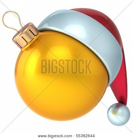 Christmas ball Happy New Year bauble decoration yellow gold ornament Santa hat icon