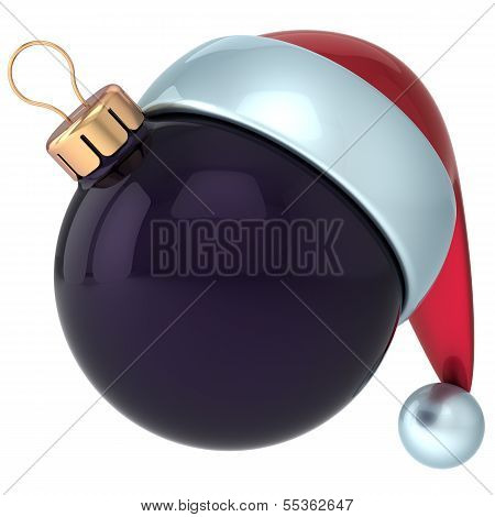 Christmas ball Happy New Year bauble decoration black ornament Santa hat icon emoticon