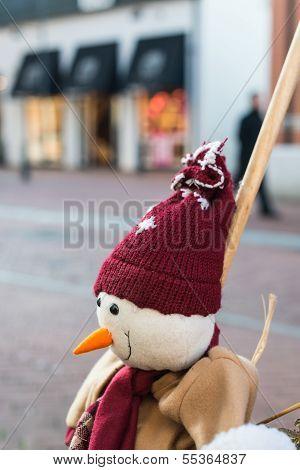 Fake Snowman In A Shopping Street