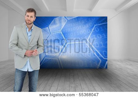 Composite image of suave man in a blazer posing
