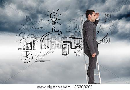 Composite image of businessman standing on ladder peering