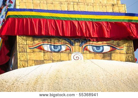 Close up: Bodhnath Stupa in Kathmandu with Buddha Eyes.