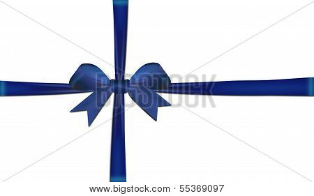 Ribbons Crossed With Blue Bow Isolated