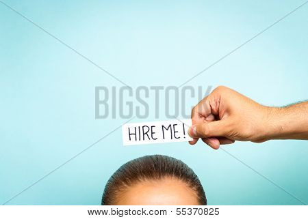 woman looking for a job concept on blue background