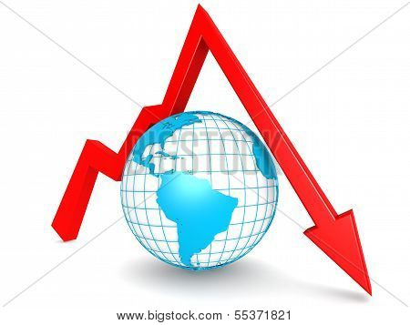 Downward graph with globe