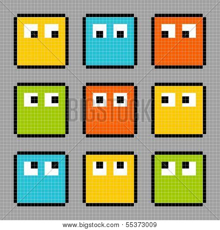 8-bit Pixel Block Characters Looking In Different Directions
