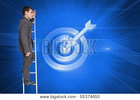 Composite image of stern businessman standing on ladder peering