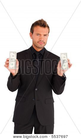 Handsome Businessman With Bundle Of Money
