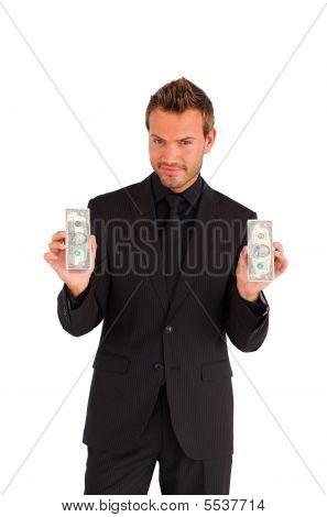 zuversichtlich Geschäftsmann mit Geld