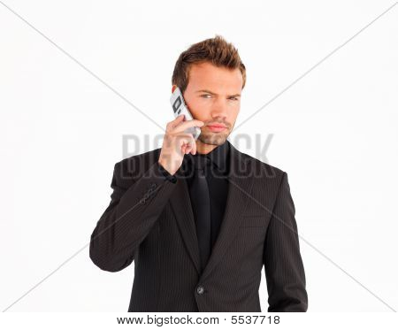 Young Businessman Using A Cell Phone
