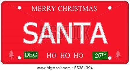 Santa License Plate
