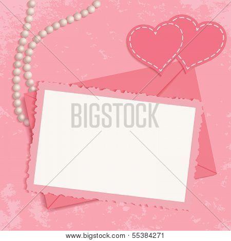 Retro pink framework for invitation or congratulation.
