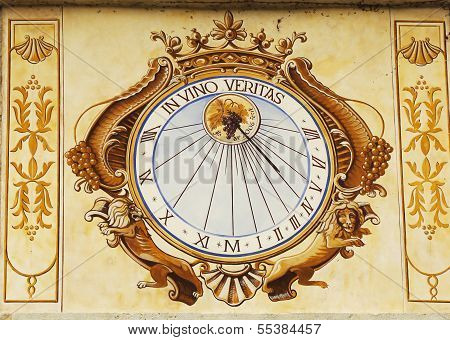In Vino Veritas Sundial clock in Chateau de Pommard in Burgundy, France