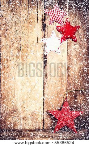 Christmas Ornaments  Over Wooden Background With Snowflakes. Vintage Christmas Greeting Card With Wh