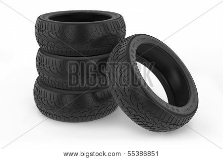 Group Of Car Winter Tires.