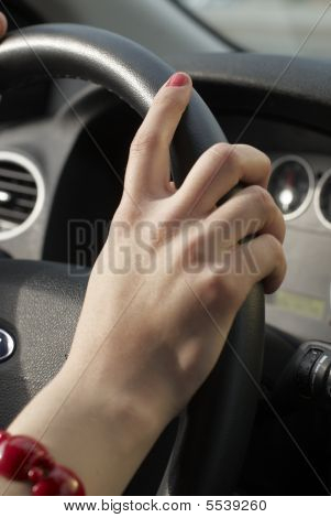 Girl Hand On Wheel Steering