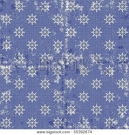 little white rudder wheels in rows on blue background grunge seamless pattern