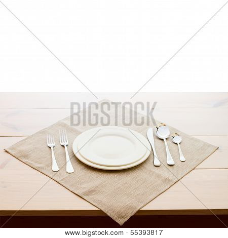 tableware for dinner plates and forks