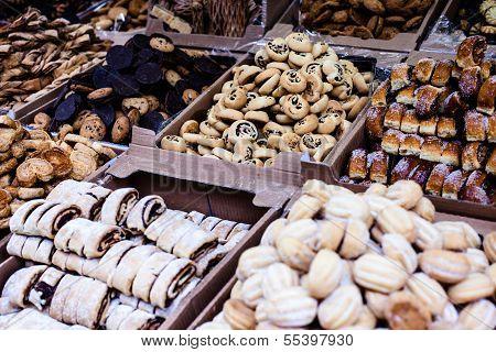 Fresh Hanukkah Cakes In The Market In Israel