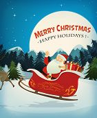 picture of santa sleigh  - Illustration of santa claus character driving a sleigh and his reindeer in the snow through the night for christmas holidays - JPG
