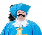 picture of courtier  - Cavalier gentleman in feathered cap and turquoise blue uniform of the cross with over a rotund fat belly isolated on white - JPG