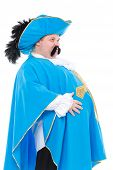 pic of courtier  - Cavalier gentleman in feathered cap and turquoise blue uniform of the cross with over a rotund fat belly isolated on white - JPG