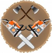 stock photo of ax  - ax and chainsaw to the stump as a symbol of a lumberjack - JPG
