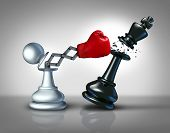 image of metaphor  - Secret weapon business concept with a chess pawn punching and destroying the competition king piece with a hidden red boxing glove as a metaphor for innovative corporate strategy and planning to win the game - JPG