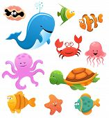 stock photo of octopus  - Vector collection of cute funny sea animals - JPG