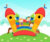 foto of bounce house  - Group of kids jumping on a bouncy castle - JPG