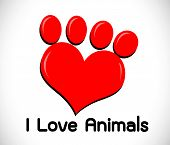 stock photo of animal footprint  - an images of  i love animals  idea - JPG