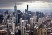 image of illinois  - Chicago skyline on a stormy winter - JPG