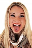 stock photo of piercings  - A very happy young woman showing her pierced tongue smiling